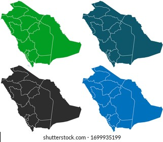 map of saudi Arabia. original map.variety of colors on white background. Vector illustration eps 10.