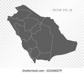 Map of Saudi Arabia , vector illustration on transparent background. Items are placed on separate layers and editable.
