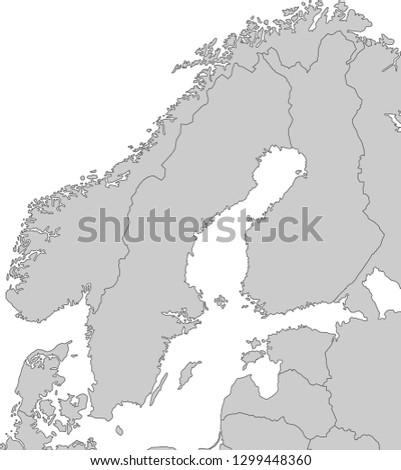 Map Scandinavia Stock Vector (Royalty Free) 1299448360 - Shutterstock