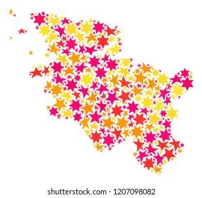 Map of Schleswig-Holstein State created with colored flat stars. Vector colored geographic abstraction of map of Schleswig-Holstein State with red, yellow, orange stars.