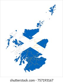 Map Of Scotland With Flag Isolated On White Background.
