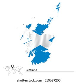 Map of Scotland with flag - vector illustration