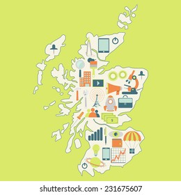 Map of Scotland with technology icons. Contour map of Scotland with icons of technology, business, science, communication