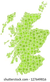 Map of Scotland - UK - in a mosaic of green square