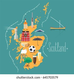 Map of Scotland vector illustration, design element. Icons with Scottish landmarks, famous cultural objects, whiskey, football