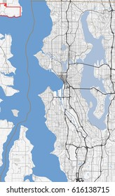 Map Seattle city. Washington Roads