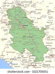 Map of Serbia. Shows country borders, urban areas, place names and roads. Labels in English where possible.Projection: Mercator.