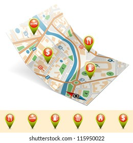 Map with Set Pointers, GPS Navigation Concept, vector illustration