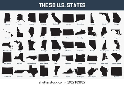 Map set of the United States with its 50 states.