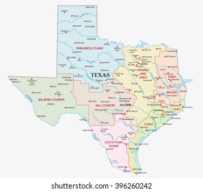 map of the seven regions in the state texas