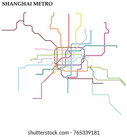 Map of Shanghai metro, Subway, Template of city transportation scheme for underground road. Vector illustration