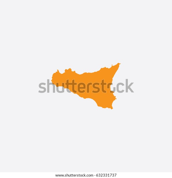 Map of Sicily - Italy Vector Illustration