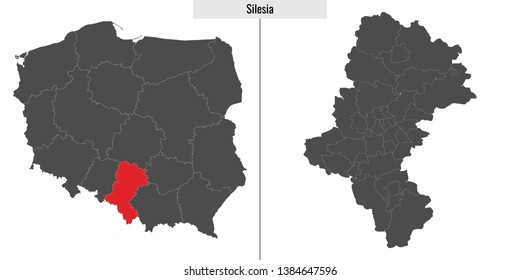 map of Silesia voivodship province of Poland and location on Polish map