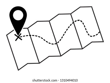 A map silhouette with a dotted line isolated on a white background
