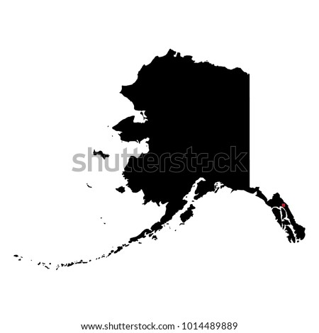Map Silhouette State Alaska Capital City Stock Vector Royalty Free