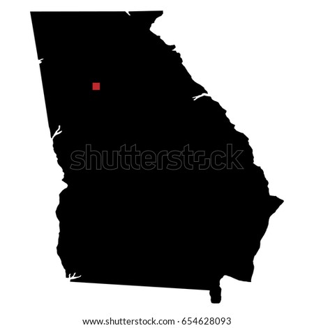 Map Of Georgia With Capital.Map Silhouette State Georgia Capital City Stock Vector Royalty Free