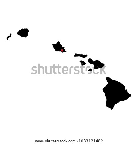 Map Silhouette State Hawaii Capital City Stock Vector Royalty Free