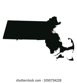 Map silhouette of state of Massachusetts with capital city