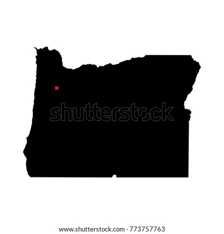 Capital Of Oregon Map.Map Silhouette State Oregon Capital City Stock Vector Royalty Free