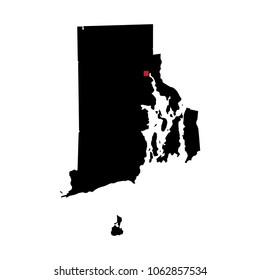 Map silhouette of state of Rhode Island with capital city