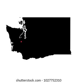 Map silhouette of state of Washington with capital city