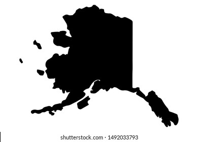 Map silhouette of the U.S. state of Alaska.Vector illustration