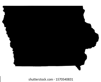 Map silhouette of the U.S. state of Iowa Vector
