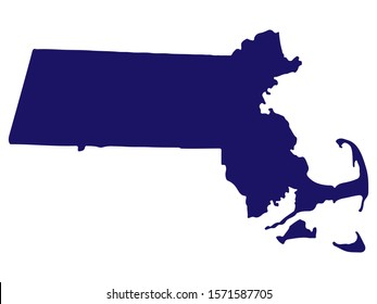 Map silhouette of the U.S. state of Massachusetts Vector