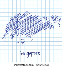 Map of Singapore, blue sketch abstract background. The hand drawn map on school grid background texture. scribble pan vector illustration