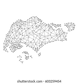 Map of Singapore from polygonal black lines and dots of vector illustration