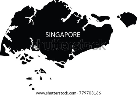 Map Singapore Vector Black On White Stock Vector (Royalty Free ...