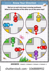 Map skills learning and training activity page or worksheet: Red car on each mini-map is moving southwest. What is the direction of the other car on the same map? Answer included.