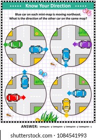 Map skills learning and training activity page or worksheet: Blue car on each mini-map is moving northeast. What is the direction of the other car on the same map? Answer included.
