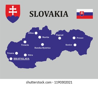 The map of Slovakia contains the 10 largest cities and national symbols (emblem and flag). The product is intended for educational purposes.