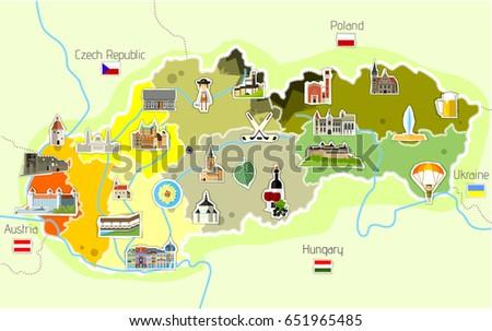 Map Slovakia Landmarks Stock Vector (Royalty Free) 651965485 ...