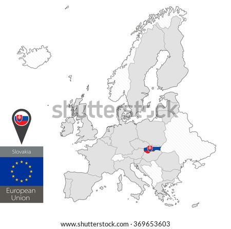 Map Slovakia Official Flag Location On Stock Vector (Royalty Free ...