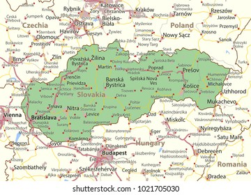 Map of Slovakia. Shows country borders, urban areas, place names and roads. Labels in English where possible.Projection: Mercator.