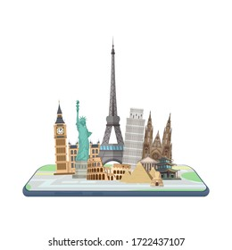 Map in the smartphone. World landmarks on the map. Vector.