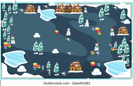 Map Snow Frozen Christmas Landscape theme with Christmas Tree, Snowman, House and Christmas present for Vector Illustration Design Ideas