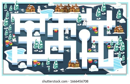 Map Snow Frozen Christmas Theme Style with Path and Christmas Tree, Snowman, House and Christmas present for 2D Game Platformer Vector Illustration