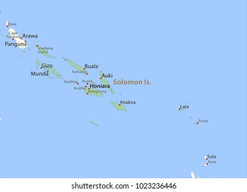 Map of Solomon Islands. Shows country borders, urban areas, place names and roads. Labels in English where possible.Projection: Mercator.