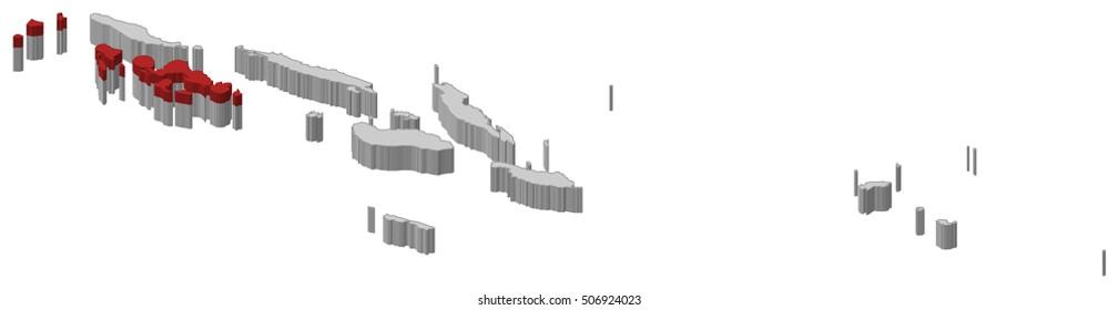 Map - Solomon Islands, Western - 3D-Illustration