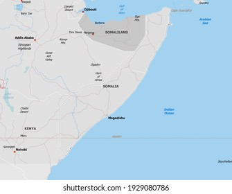 Map of Somalia. Map is drawn in high detail and for clarity shows only major cities. Country is drawn with neighboring countries.
