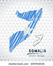 Map of Somalia with hand drawn sketch pen map inside. Vector illustration