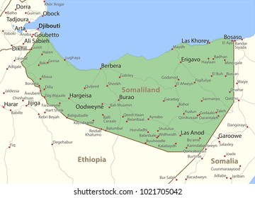 Map of Somaliland. Shows country borders, urban areas, place names and roads. Labels in English where possible.Projection: Mercator.