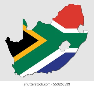 Map of South Africa, Filled with the National Flag