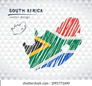 Map of South Africa with hand drawn sketch pen map inside. Vector illustration