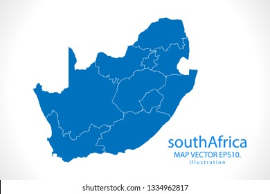 Map of south Africa - High detailed blue map on white background. Abstract design vector illustration
