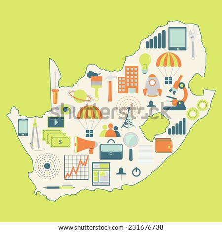 Map South Africa Technology Icons Contour Stock Vector (Royalty Free on