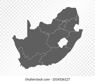 Map of South Africa , vector illustration on transparent background. Items are placed on separate layers and editable.